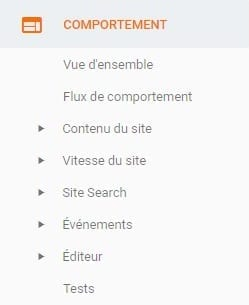 Option comportement de Google Analytics
